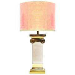 Karl Springer Brass Lucite Ionic Column Table Lamp Postmodern Neoclassical Brass