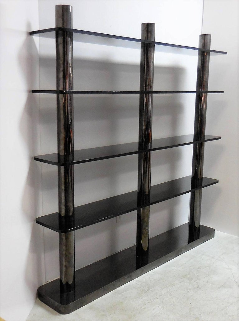 American Karl Springer Bronze and Glass Bookcase Wall Unit, 1975 For Sale
