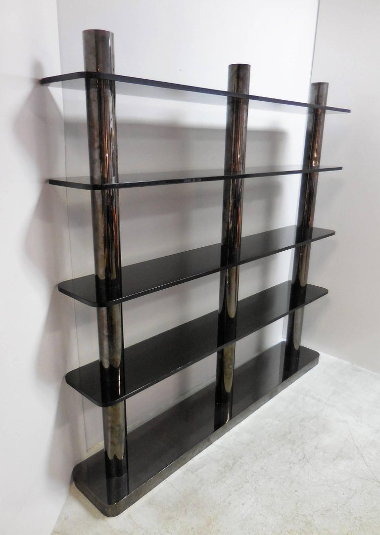 Karl Springer Bronze and Glass Bookcase Wall Unit, 1975 In Good Condition For Sale In Miami, FL