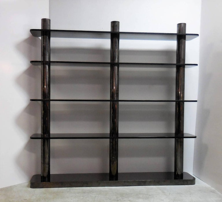 Karl Springer Bronze and Glass Bookcase Wall Unit, 1975 For Sale 1