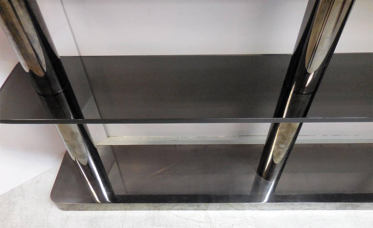 Karl Springer Bronze and Glass Bookcase Wall Unit, 1975 For Sale 4