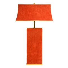 Karl Springer Chic Table Lamp in Brass and Red Suede 1970s