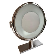 Karl Springer Chrome Vanity or Table Mirror Magnified with Light
