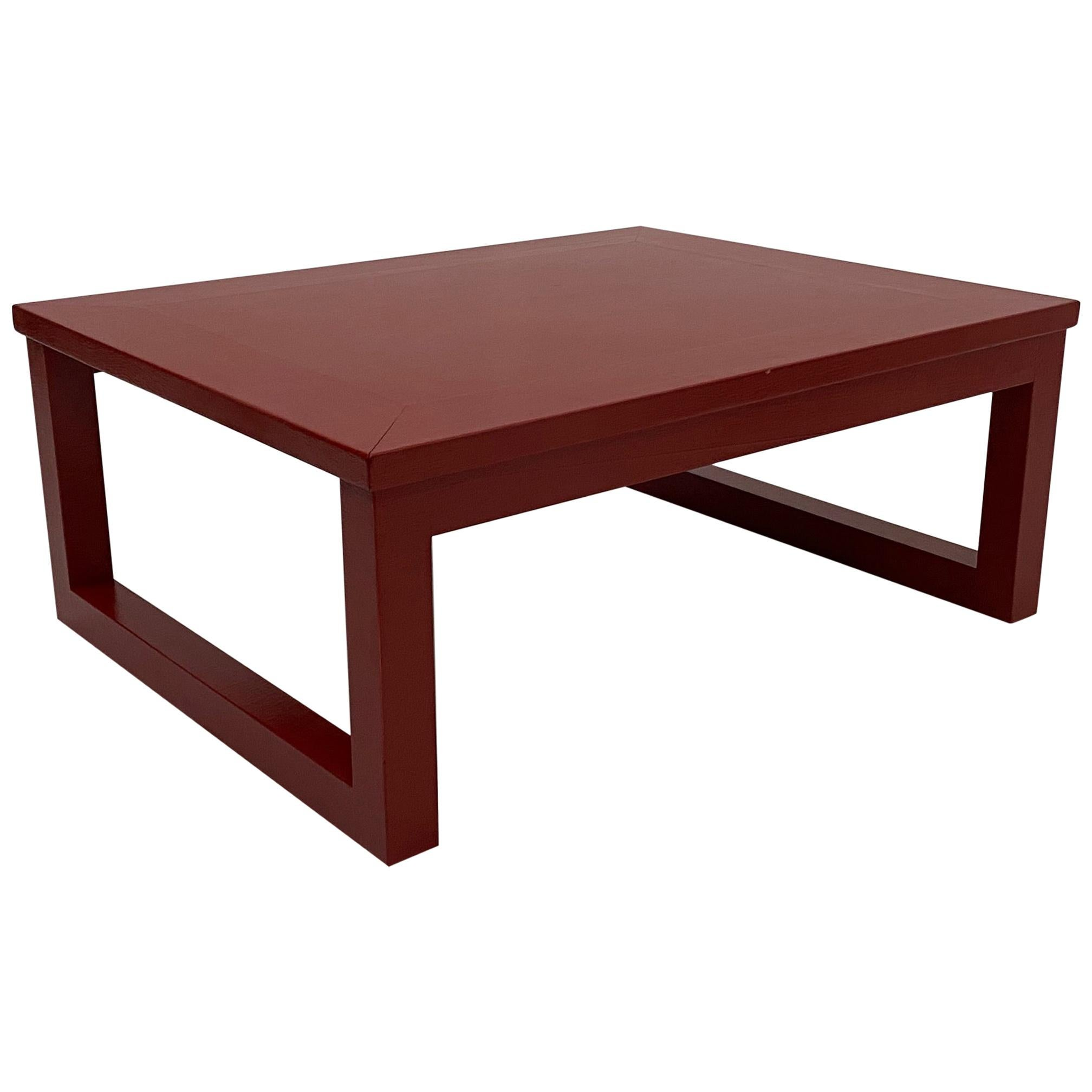 Karl Springer Cinnabar Red Grass Cloth Mid-Century Modern Coffee Table