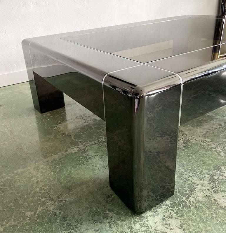 Modern Karl Springer Cocktail or Coffee Table in Gunmetal and Polished Steel, 1980s For Sale