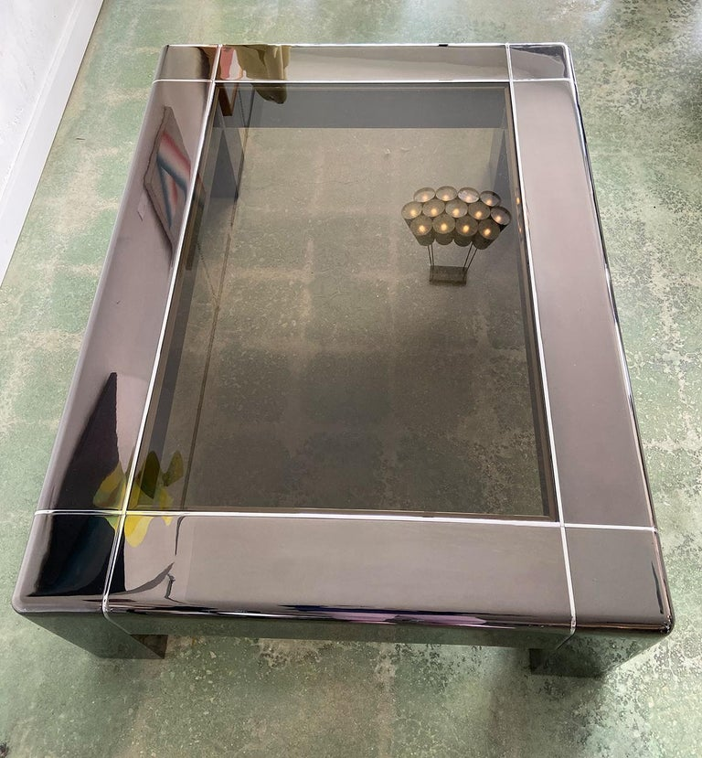 American Karl Springer Cocktail or Coffee Table in Gunmetal and Polished Steel, 1980s For Sale