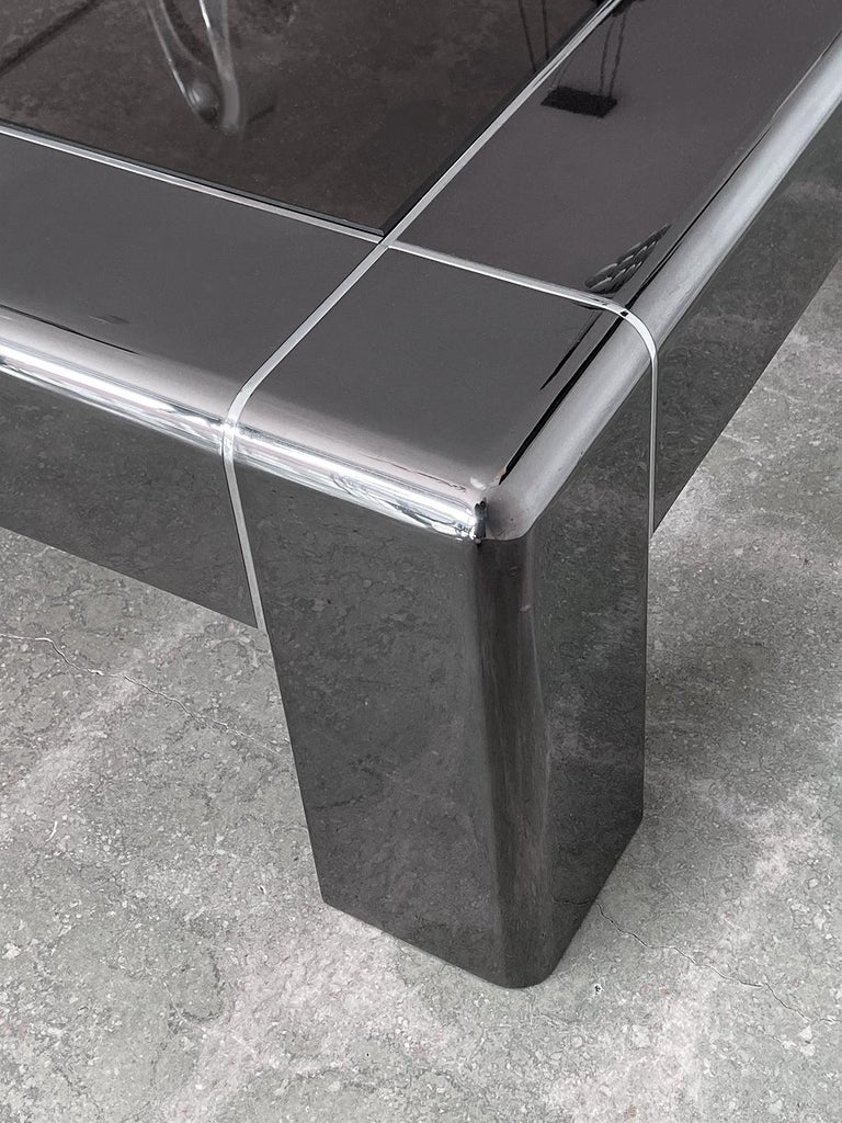 Karl Springer Cocktail or Coffee Table in Gunmetal and Polished Steel, 1980s In Excellent Condition For Sale In Ft Lauderdale, FL