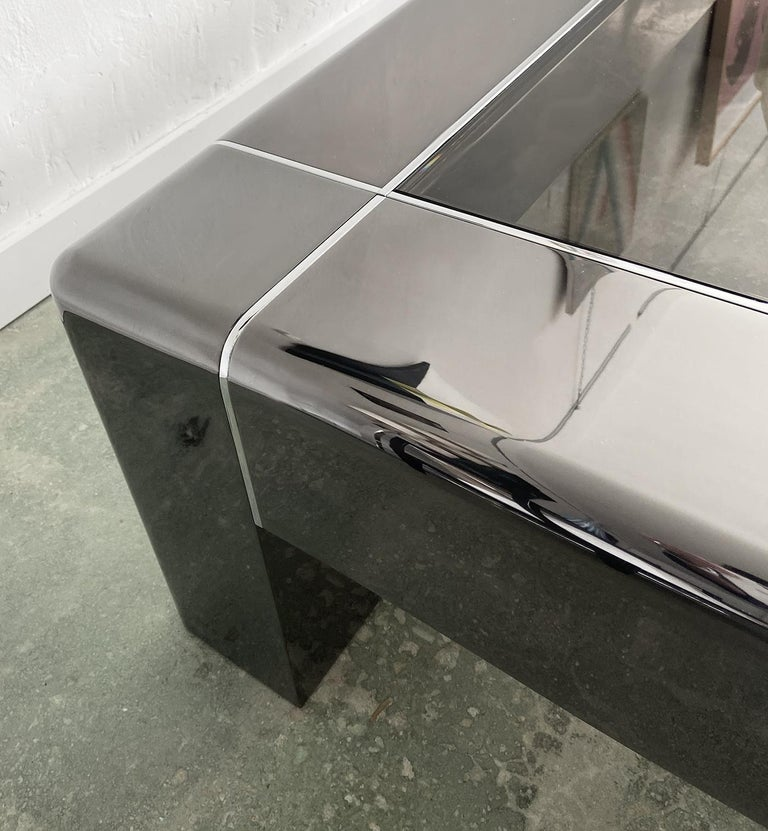 Late 20th Century Karl Springer Cocktail or Coffee Table in Gunmetal and Polished Steel, 1980s For Sale