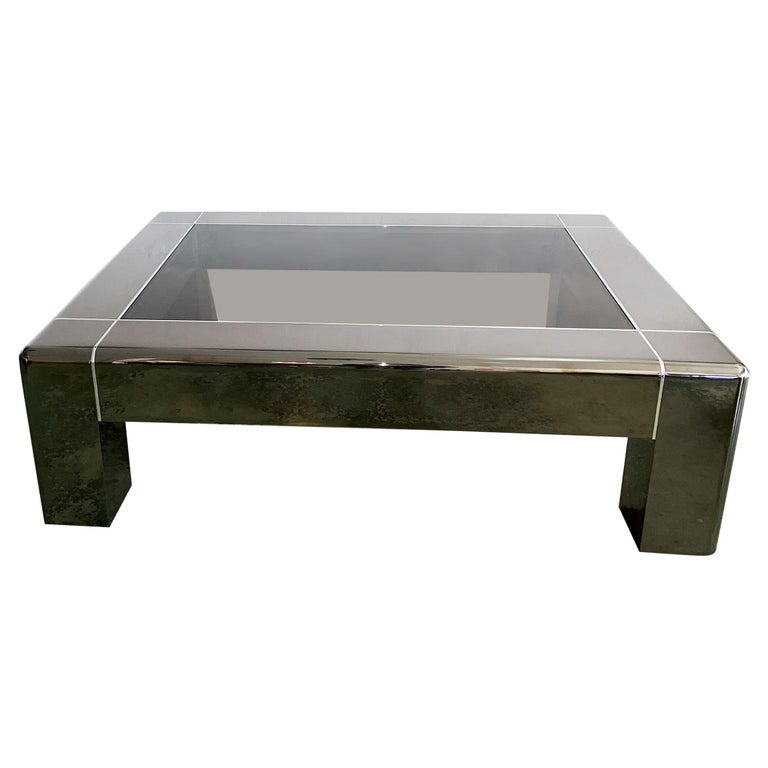 Karl Springer Cocktail or Coffee Table in Gunmetal and Polished Steel, 1980s For Sale