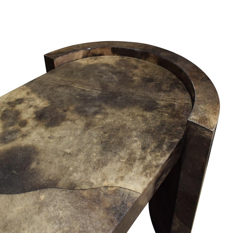 Hand-Crafted Karl Springer Console Table In Dark Brown Lacquered Goat Skin 1980 For Sale