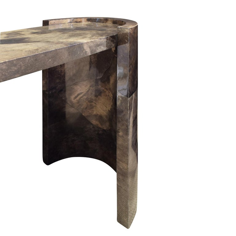 Karl Springer Console Table In Dark Brown Lacquered Goat Skin 1980 In Excellent Condition For Sale In New York, NY