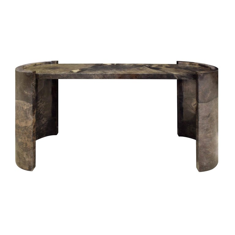 Karl Springer Console Table In Dark Brown Lacquered Goat Skin 1980 For Sale