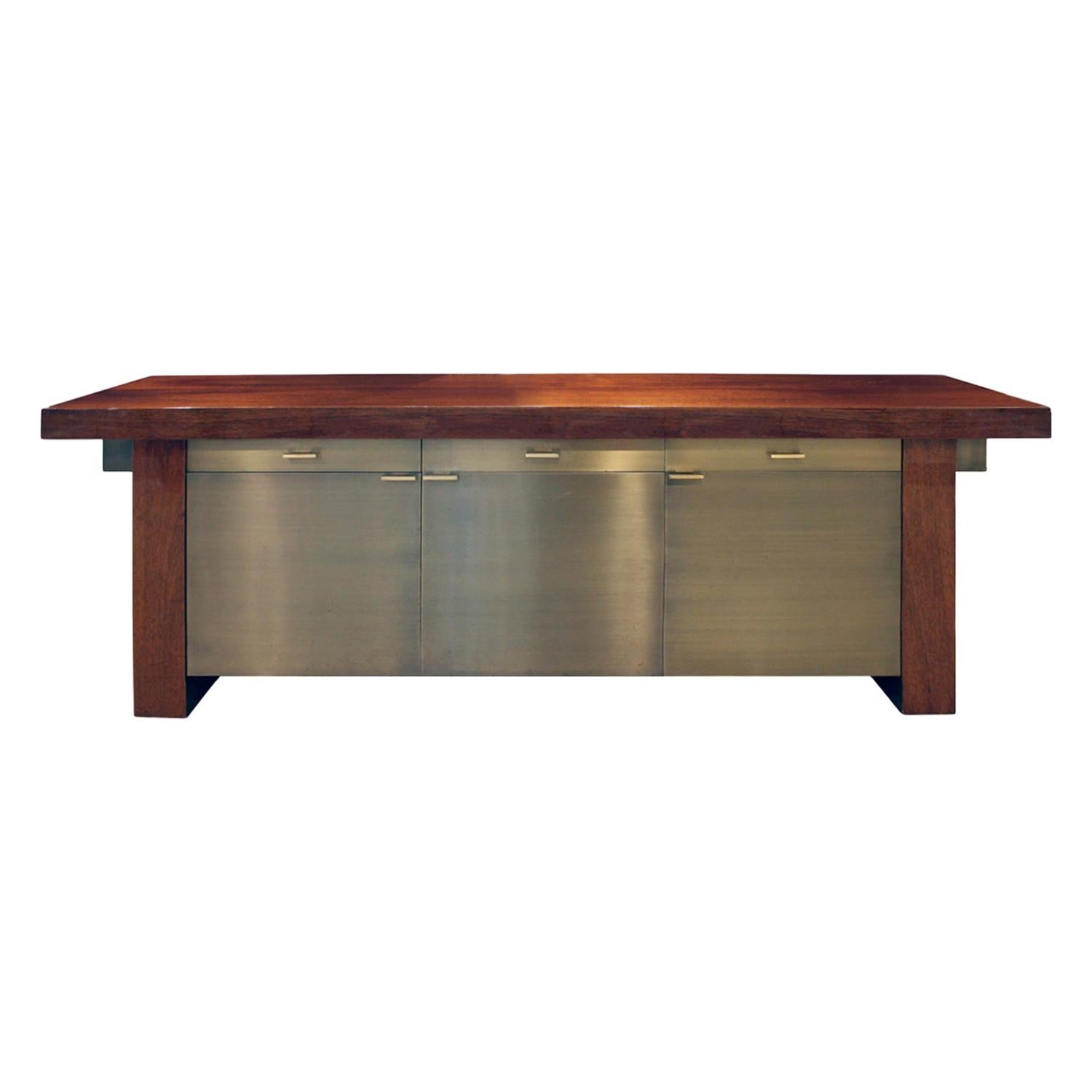 Karl Springer Credenza in Lacquered Mahogany with Oxidized Bronze Doors, 1980s