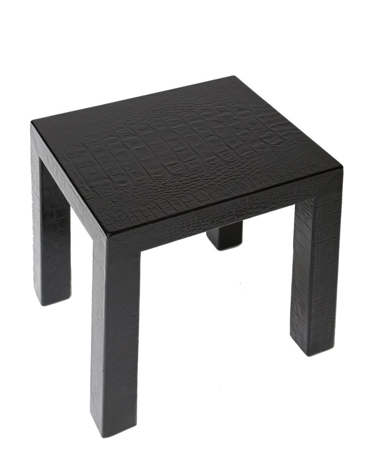 Fantastic Karl Springer Crocodile Leather Parsons Side Table Download Free Architecture Designs Lukepmadebymaigaardcom
