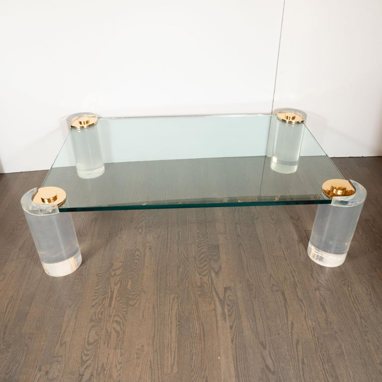 American Karl Springer Documented Mid-Century Modern Lucite, Brass & Glass Cocktail Table For Sale