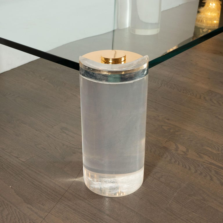Karl Springer Documented Mid-Century Modern Lucite, Brass & Glass Cocktail Table For Sale 1