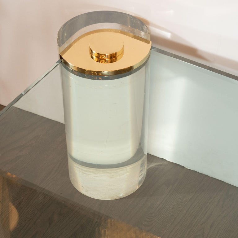 Karl Springer Documented Mid-Century Modern Lucite, Brass & Glass Cocktail Table For Sale 2