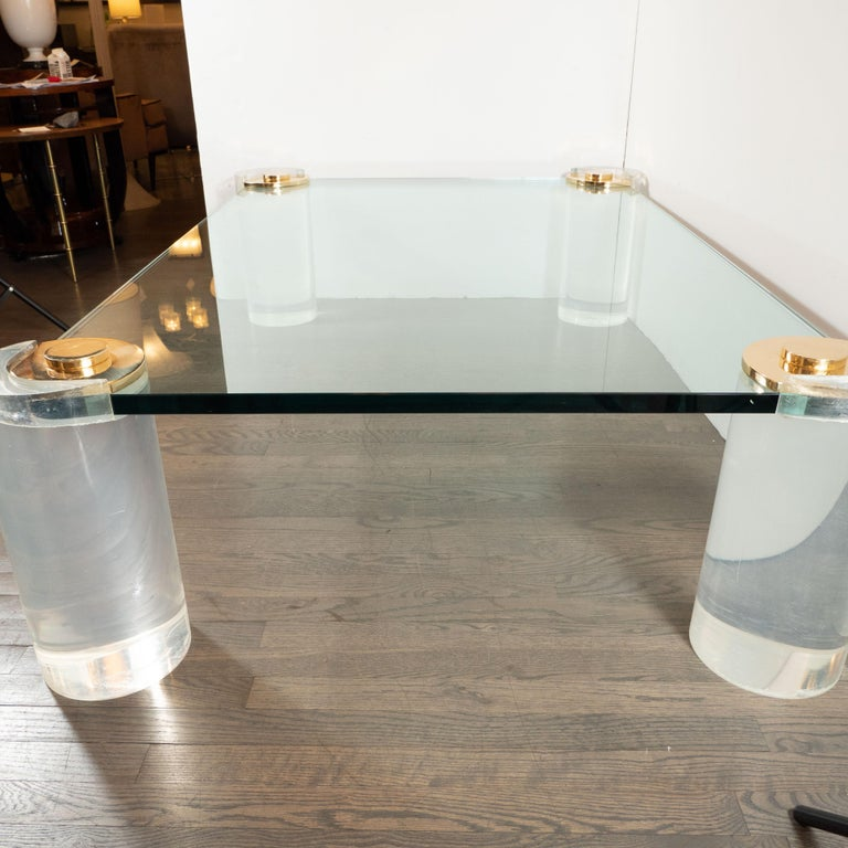 Karl Springer Documented Mid-Century Modern Lucite, Brass & Glass Cocktail Table For Sale 3