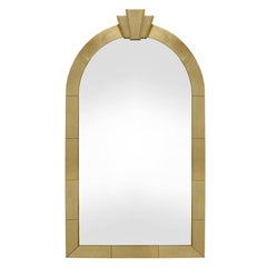 """Karl Springer """"Dome Top Art Deco Mirror"""" in Gold Leather, 1991 'Signed'"""