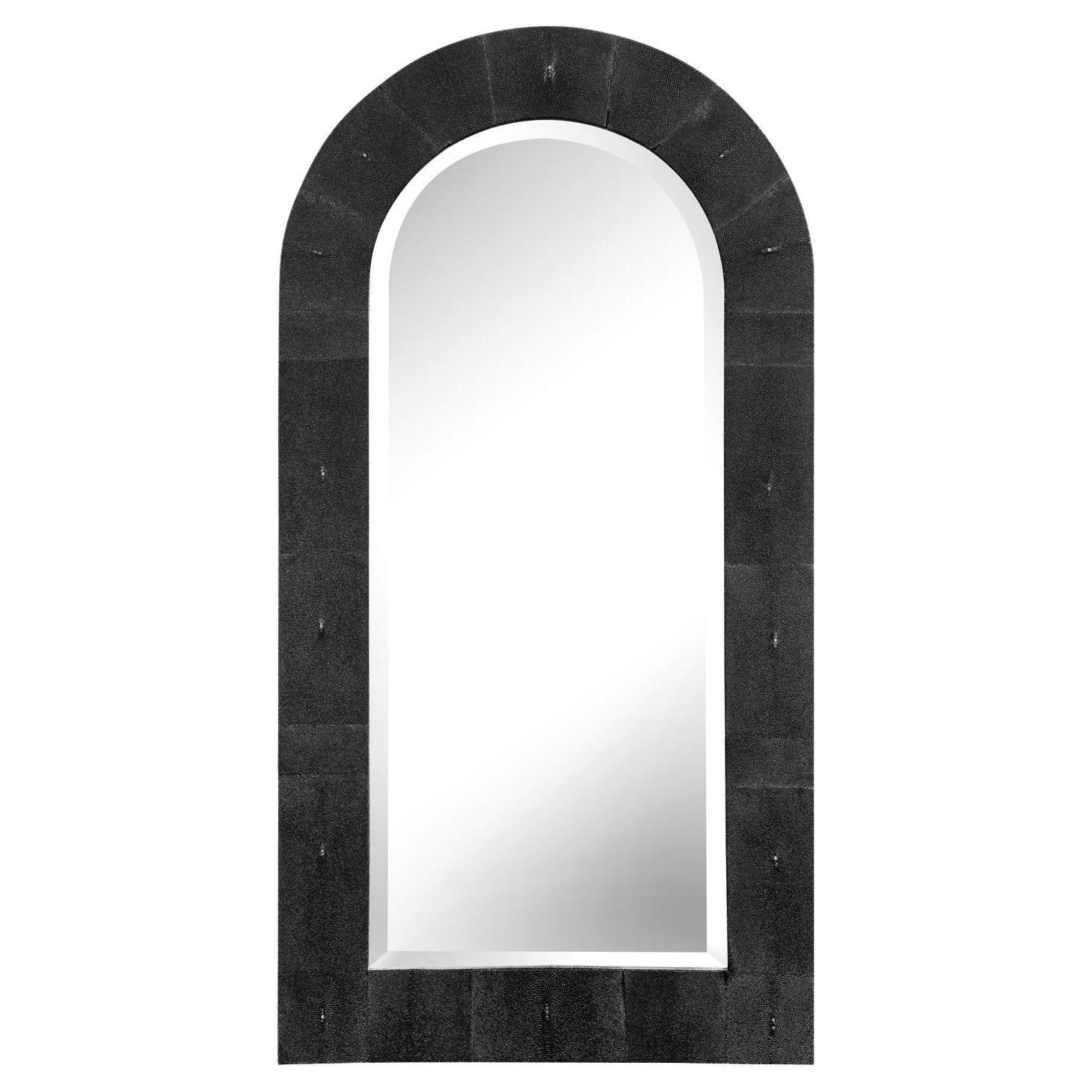 "Karl Springer ""Dome Top Mirror"" in Black Shagreen 1980s 'Signed'"