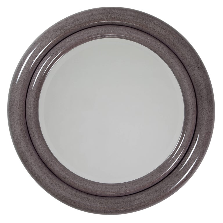 "Karl Springer ""Double Bullseye"" Mirror in Faux Stone Lacquer, circa 1980s For Sale"