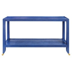 Karl Springer Duchess Console in Blue Lacquered Linen 1990s 'Signed'