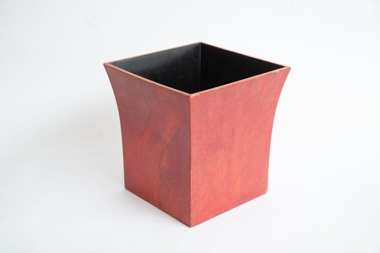 Karl Springer Dyed Goatskin Wastebasket For Sale 6