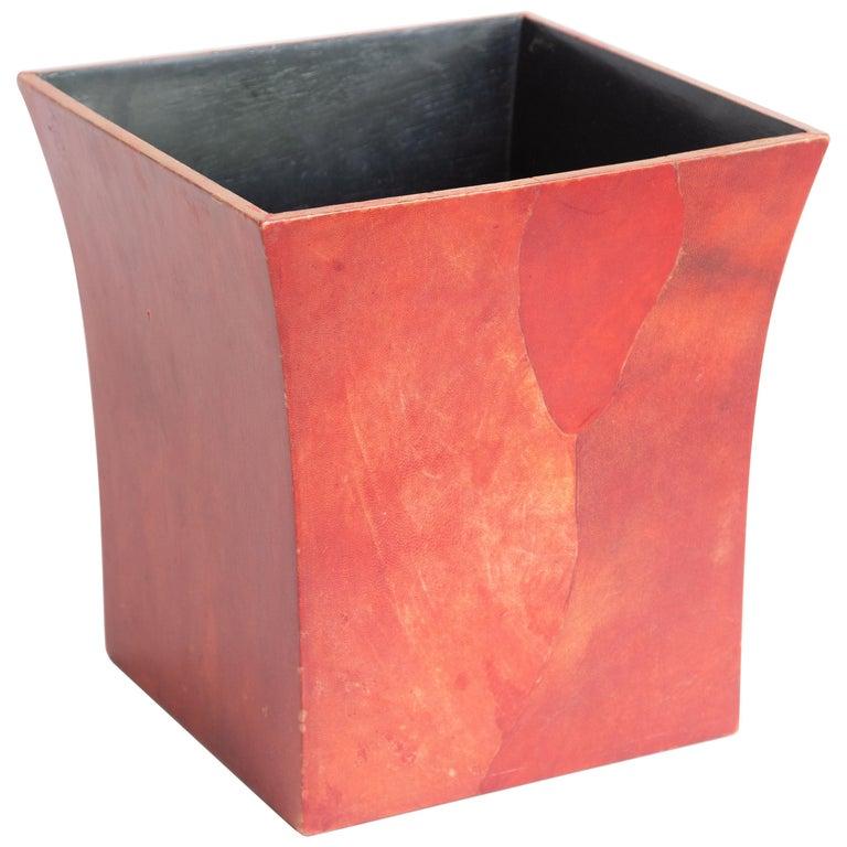 Karl Springer Dyed Goatskin Wastebasket For Sale