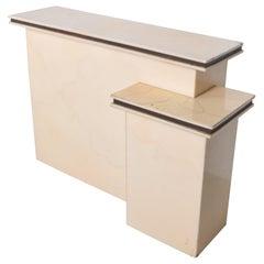 Karl Springer Elegant Dry Bar Service Cabinet Lacquered Goatskin Parchment 1980