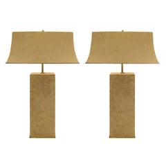 Karl Springer Elegant Pair of Table Lamps in Brass and Beige Suede, 1970s