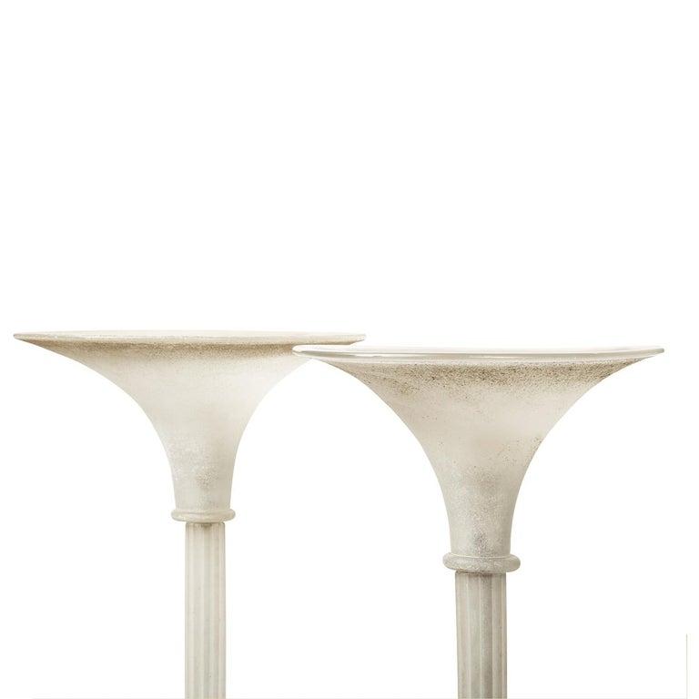 Modern Karl Springer Elegant Pair of White Scavo Glass Torcheres, 1980s For Sale
