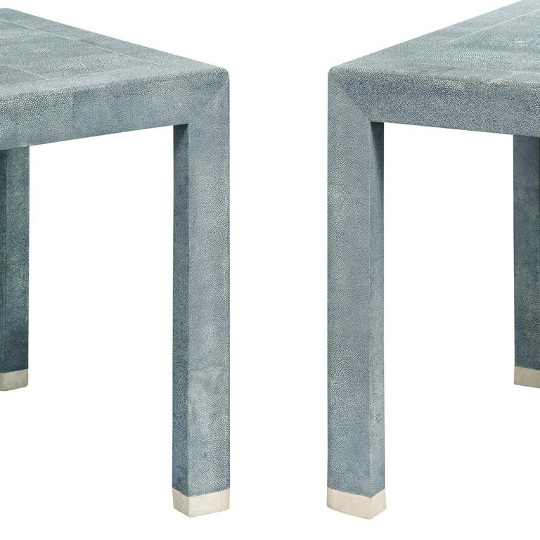 Hand-Crafted Karl Springer End Tables in Shagreen with Bone Inlays 1980s 'Signed'