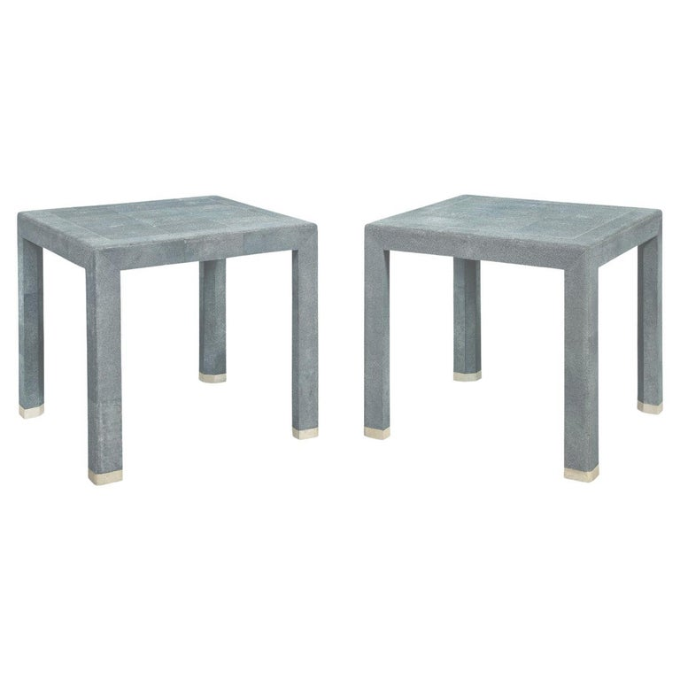 Karl Springer End Tables in Shagreen with Bone Inlays 1980s 'Signed'