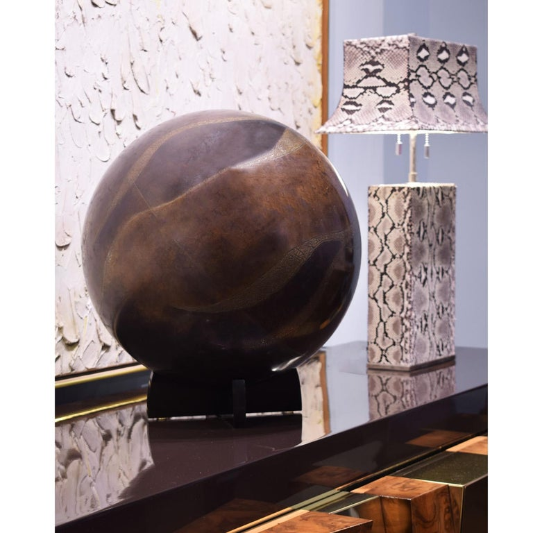 Ebonized Karl Springer Exceptional Artisan Bronze Orb Sculpture, 1980s For Sale