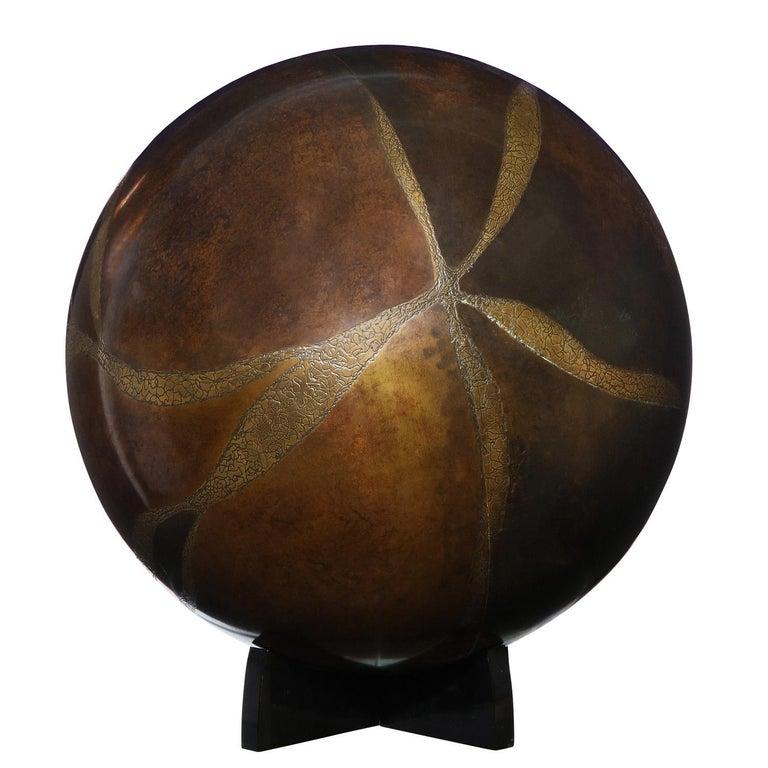 Karl Springer Exceptional Artisan Bronze Orb Sculpture, 1980s For Sale