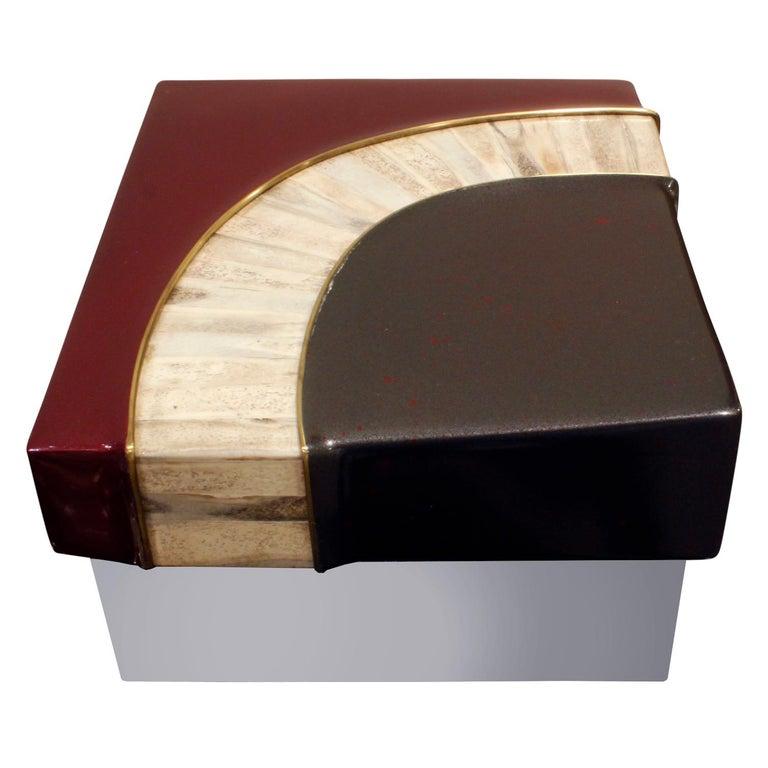 Mid-Century Modern Karl Springer Exceptional Box in Glazierite with Bone, 1980s For Sale