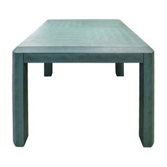 Karl Springer Exceptional Game Table in Embossed Lizard Leather 1993 'Signed'