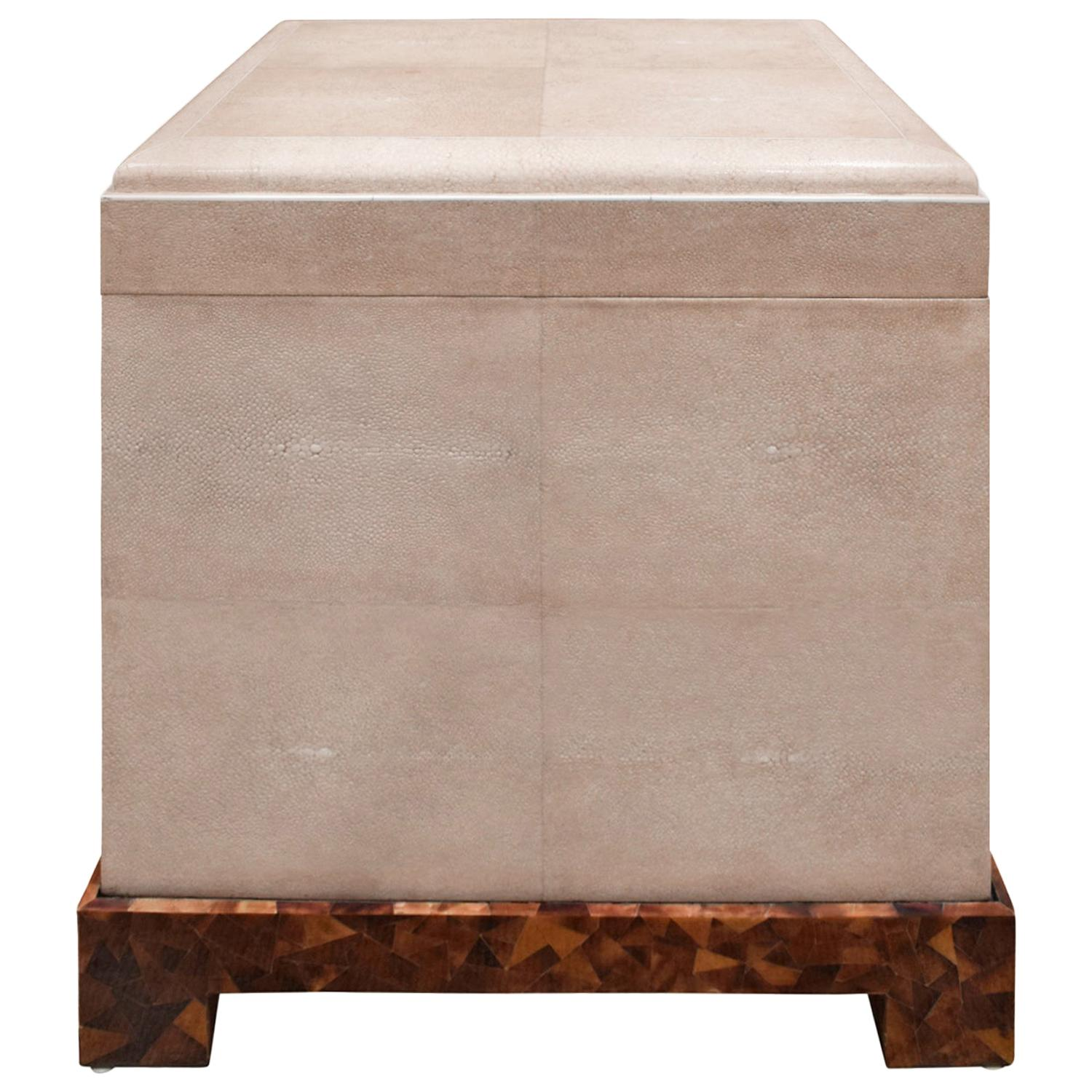 """Karl Springer Exceptional """"Kyoto Box"""" End Table in Shagreen, 1980s"""
