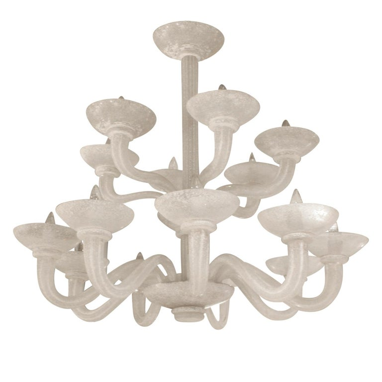 Modern Karl Springer Exceptional Large 2-Tier Scavo Glass Chandelier, 1980s For Sale