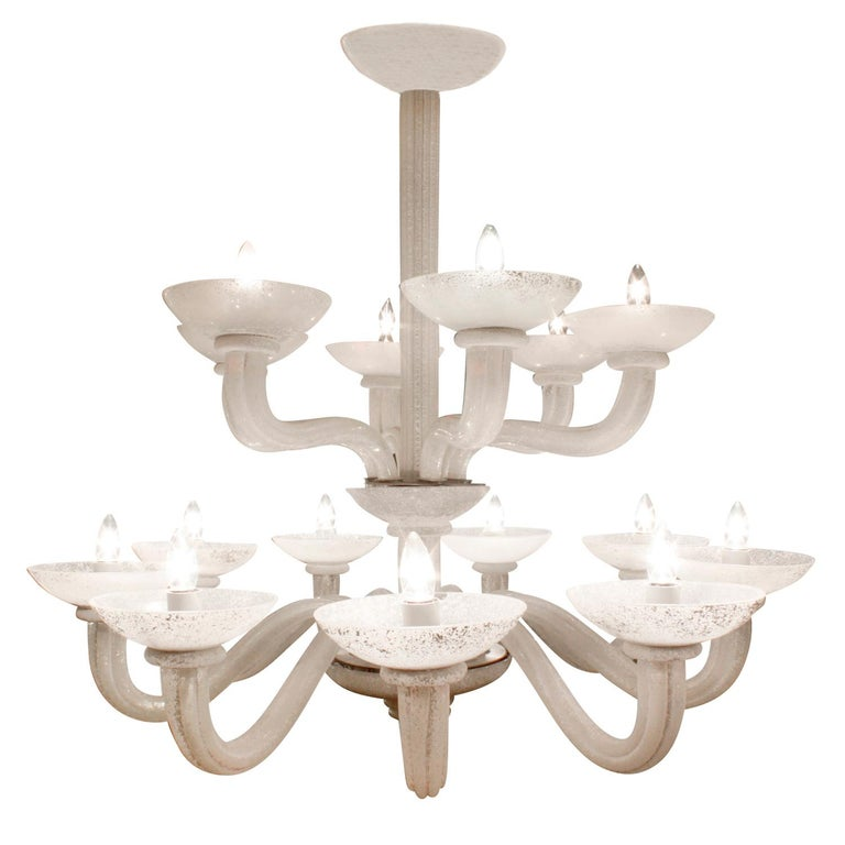 Karl Springer Exceptional Large 2-Tier Scavo Glass Chandelier, 1980s For Sale