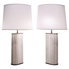 Karl Springer Exceptional Pair of Table Lamps in Bronze Covered in Boa, 1970s