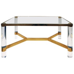 "Karl Springer Exceptional ""Round Leg Lucite Coffee Table"" 1980s, Signed"
