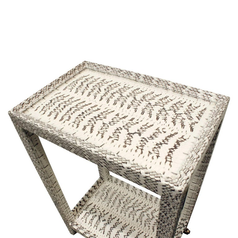 American Karl Springer Exceptionally Crafted Telephone Table in Cobra Skin For Sale