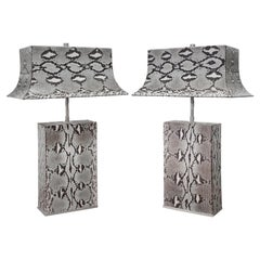 Karl Springer Exquisite Pair of Pagoda Table Lamps in Python 1980s 'Signed'