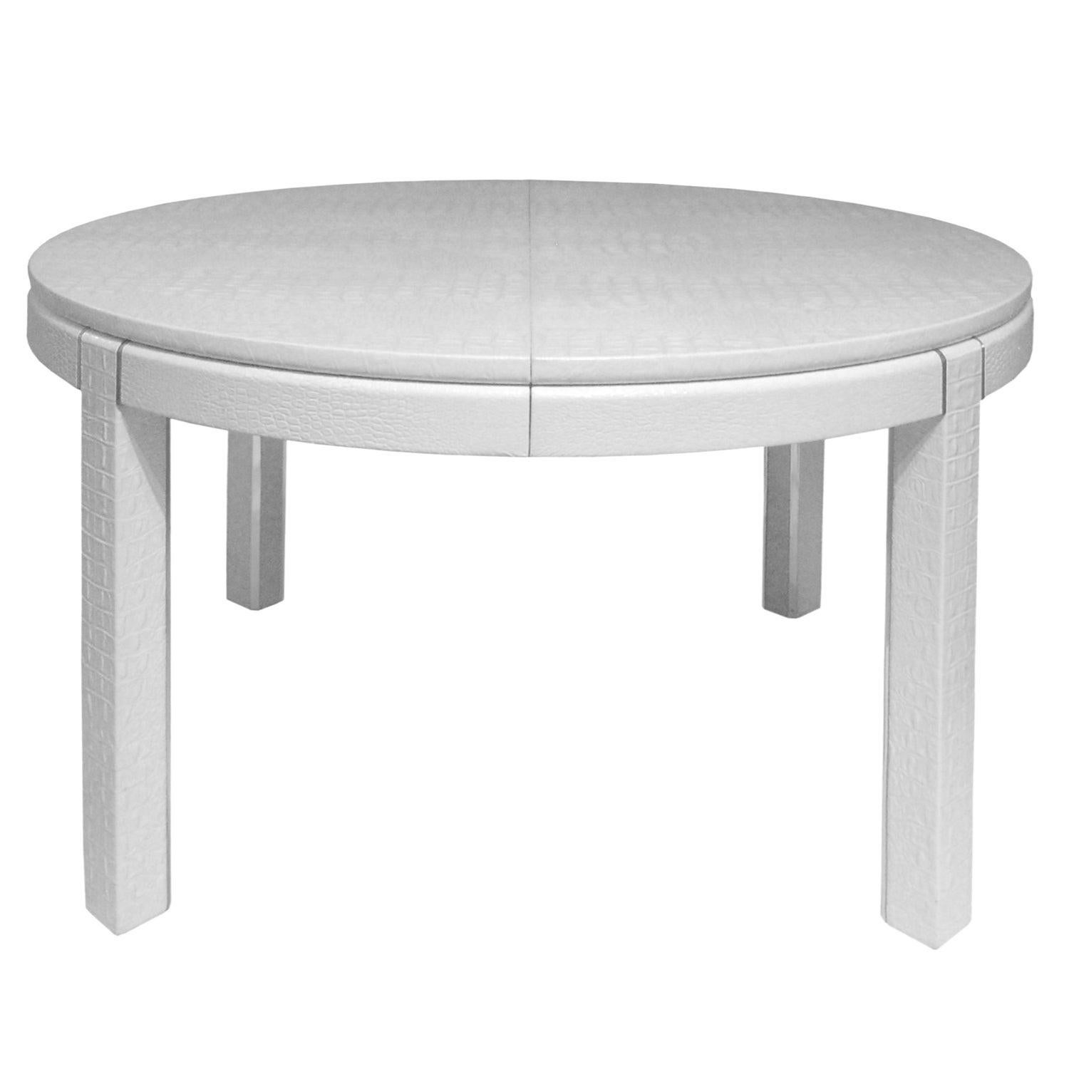 Karl Springer Extension Dining Table in Embossed Crocodile Leather, 1980s