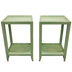 Karl Springer Extraordinary Pair of Telephone Tables in Mint Shagreen, 2002