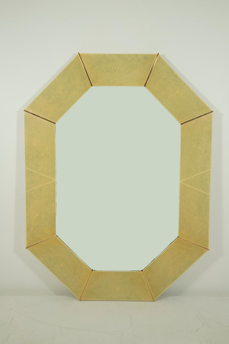 Painted Karl Springer Faux Shagreen and Brass Wall Mirror For Sale