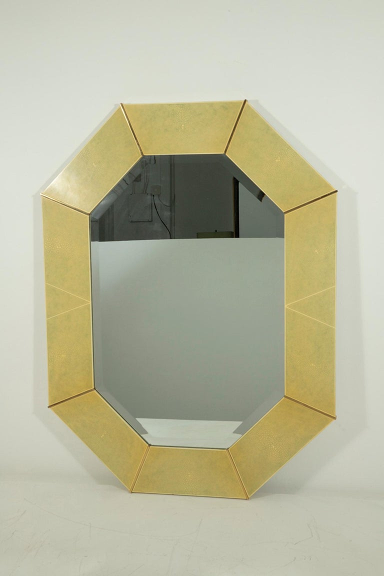 Karl Springer Faux Shagreen and Brass Wall Mirror In Good Condition For Sale In Los Angeles, CA