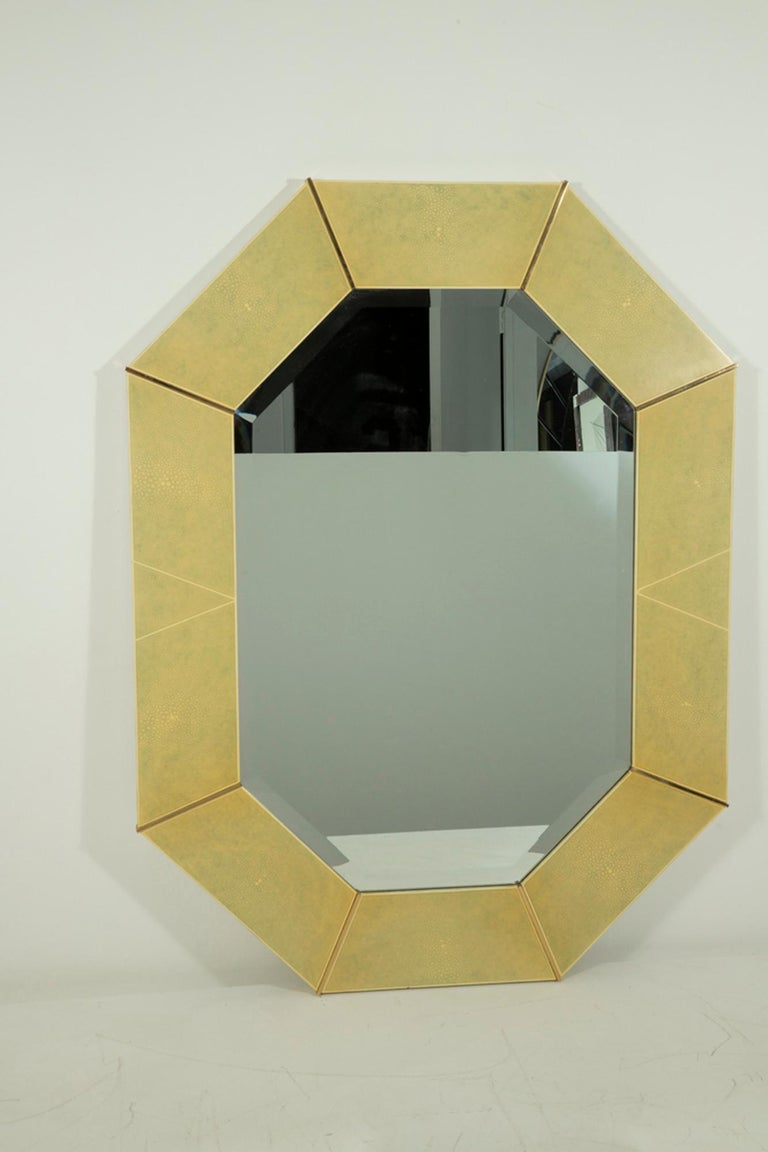20th Century Karl Springer Faux Shagreen and Brass Wall Mirror For Sale