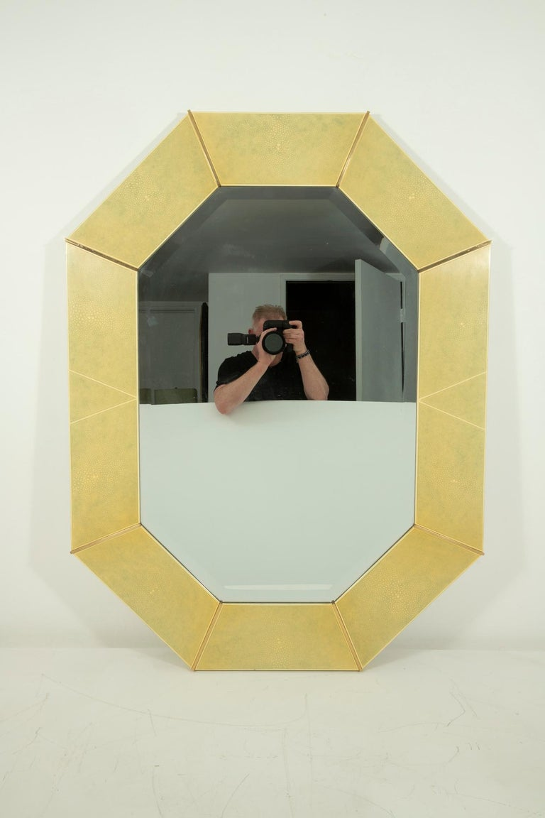 Karl Springer Faux Shagreen and Brass Wall Mirror For Sale 1